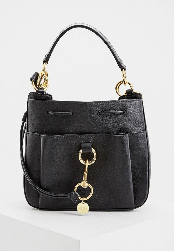 женская сумка с ручками see by chloe, черная