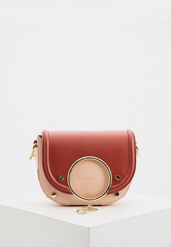 женская сумка через плечо see by chloe, красная
