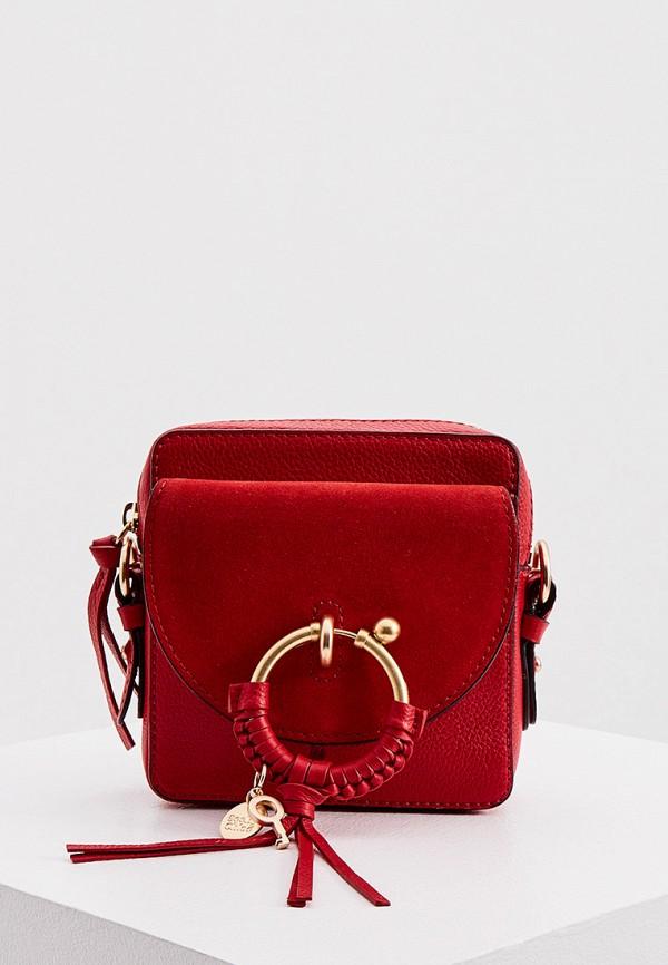 женская сумка see by chloe, красная