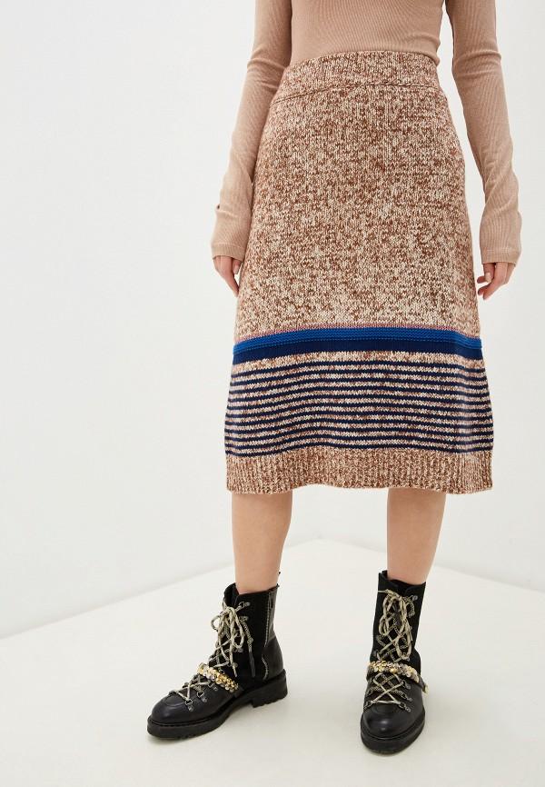 женская юбка-трапеции see by chloe, бежевая
