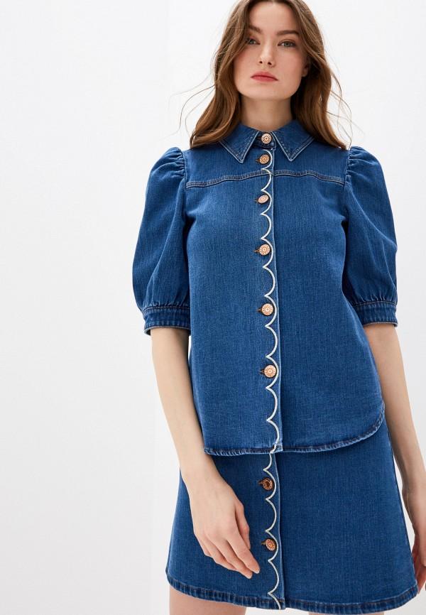 женская джинсовые рубашка see by chloe, синяя