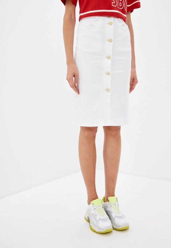 женская джинсовые юбка see by chloe, белая