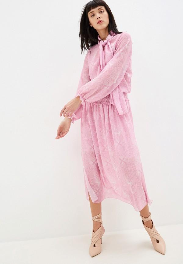 женское платье миди see by chloe, розовое