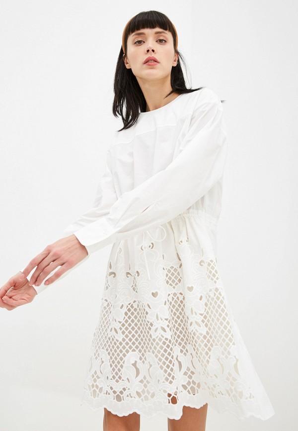 женское платье миди see by chloe, белое