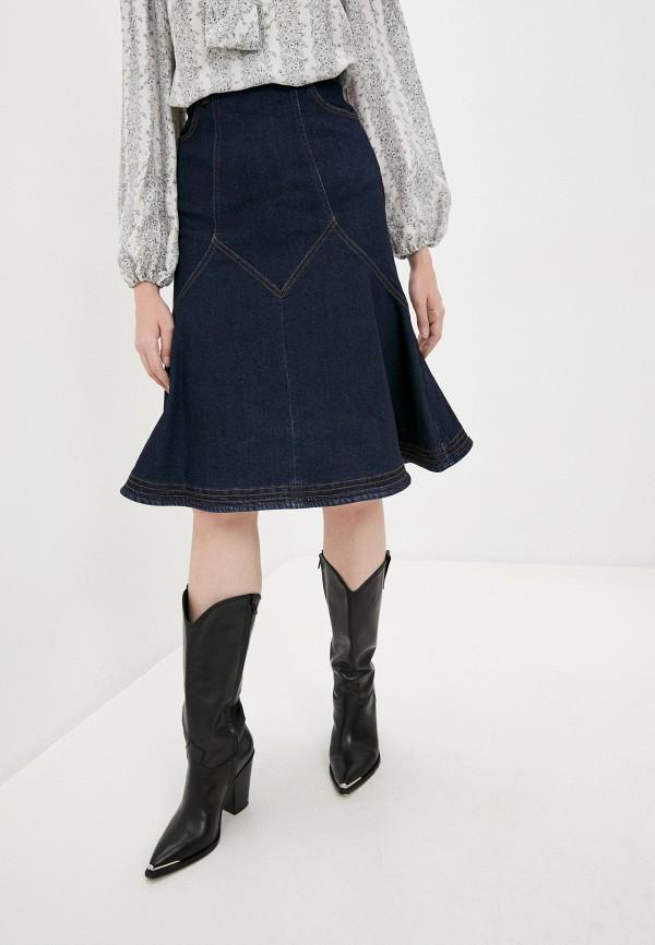 женская джинсовые юбка see by chloe, синяя