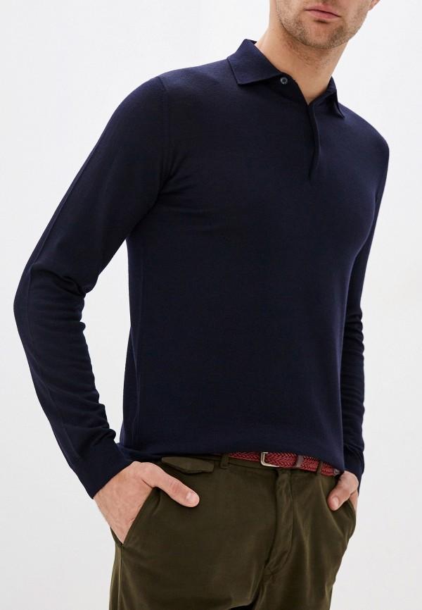 мужское поло с длинным рукавом seventy, синее