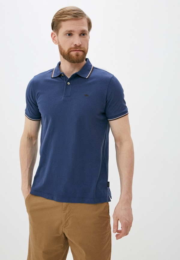мужское поло с коротким рукавом seventy, синее