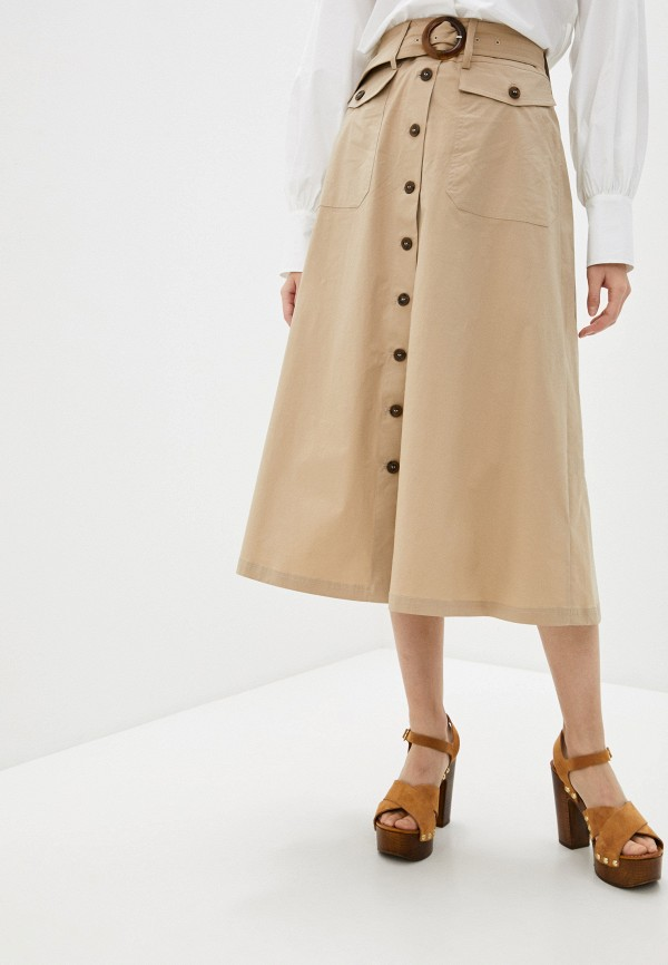 женская юбка-трапеции seventy, бежевая