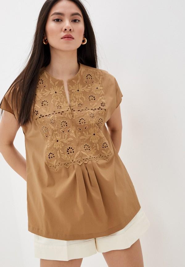 женская блузка с коротким рукавом seventy, коричневая