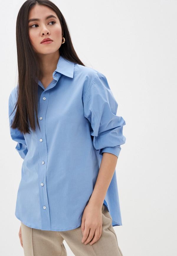женская рубашка с длинным рукавом seventy, голубая