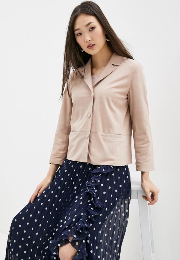 женская кожаные куртка seventy, розовая
