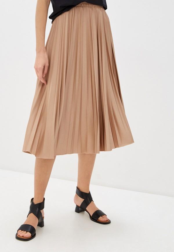 женская плиссированные юбка seventy, бежевая