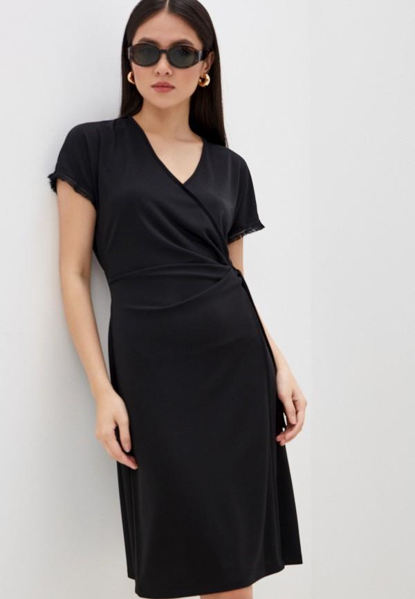 женское платье с запахом seventy, черное