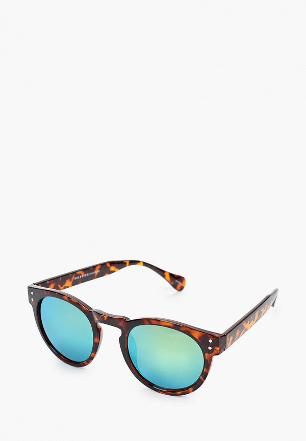 мужские круглые солнцезащитные очки selected homme, коричневые
