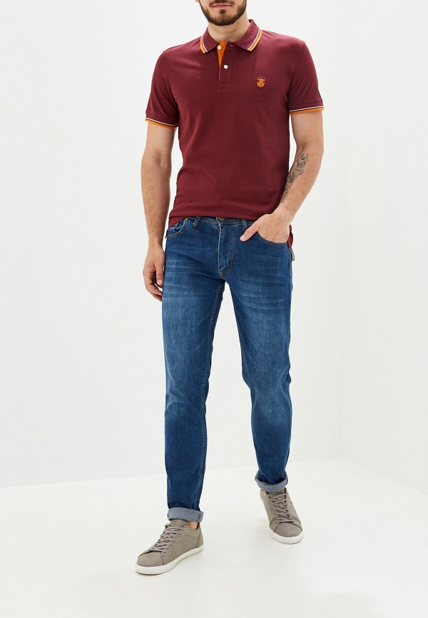 Фото 2 - мужское поло Selected Homme бордового цвета