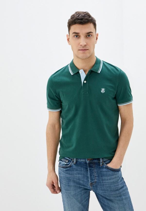 мужское поло selected homme, зеленое