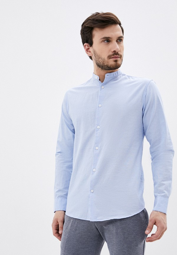 мужская рубашка с длинным рукавом selected homme, голубая