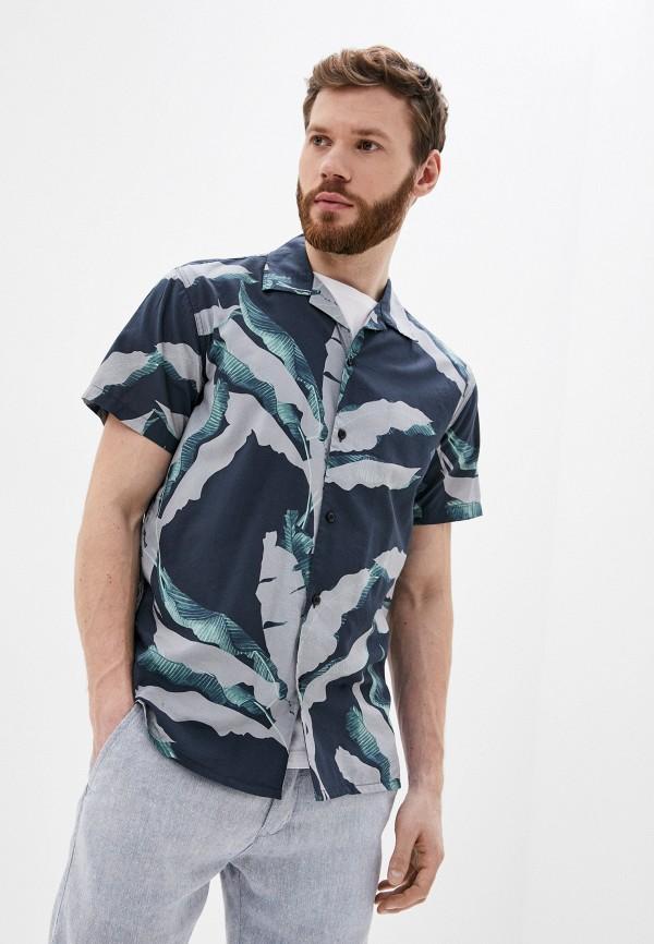 мужская рубашка с коротким рукавом selected homme, синяя