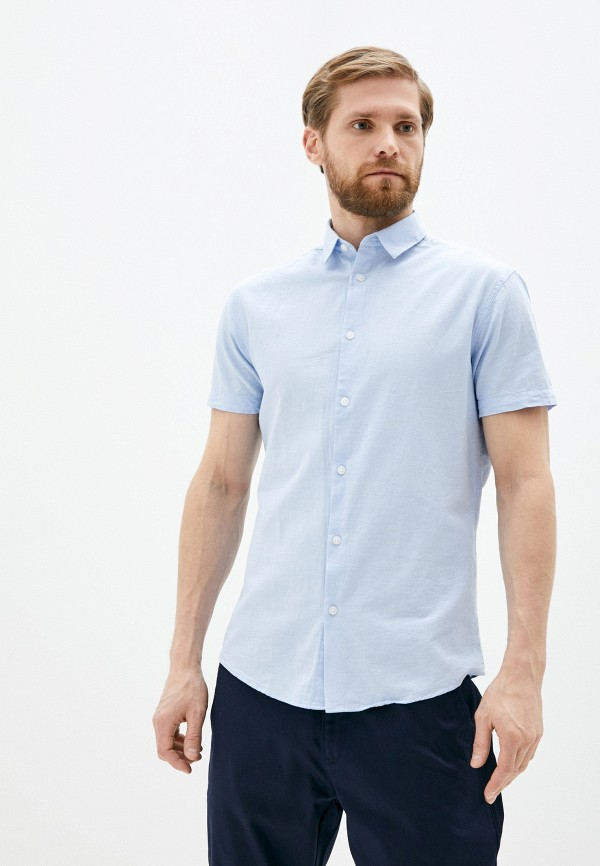 мужская рубашка с коротким рукавом selected homme, голубая