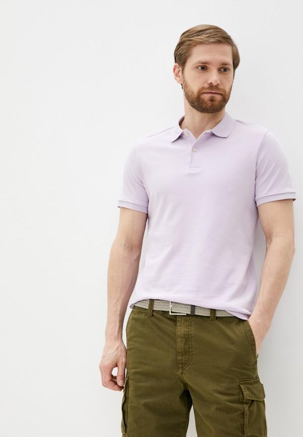 мужское поло selected homme, фиолетовое