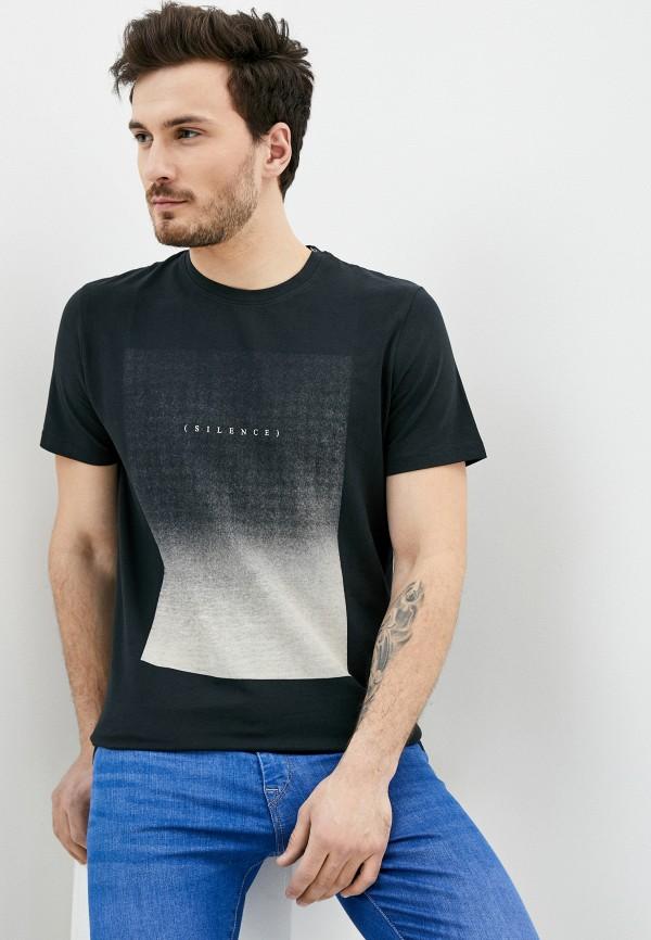 мужская футболка с коротким рукавом selected homme, черная