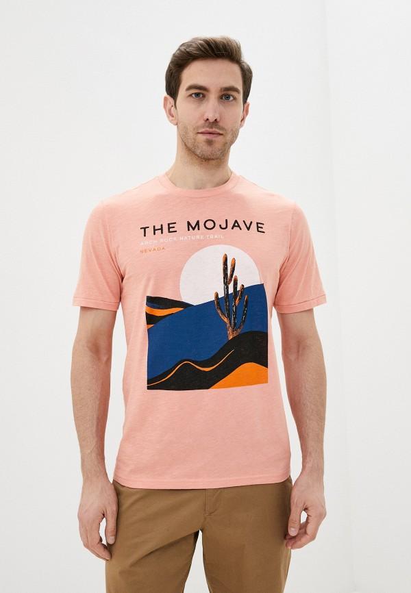 мужская футболка с коротким рукавом selected homme, розовая