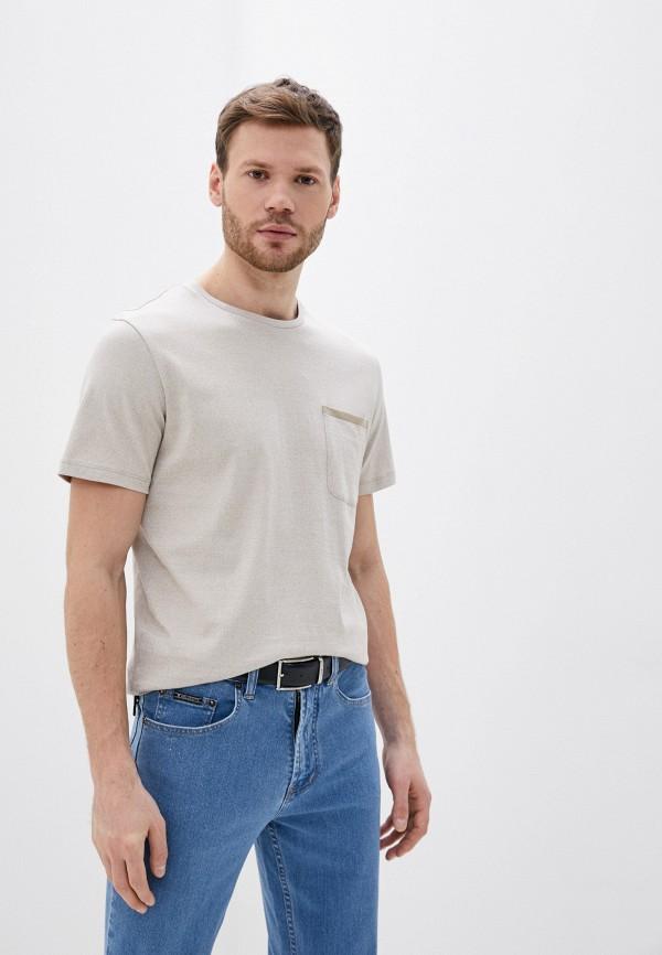мужская футболка с коротким рукавом selected homme, бежевая