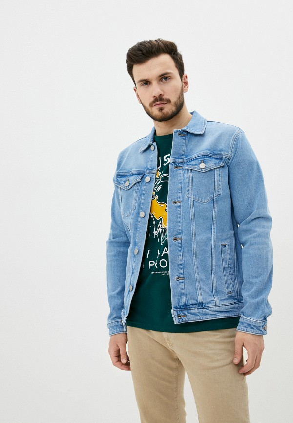 мужская джинсовые куртка selected homme, голубая