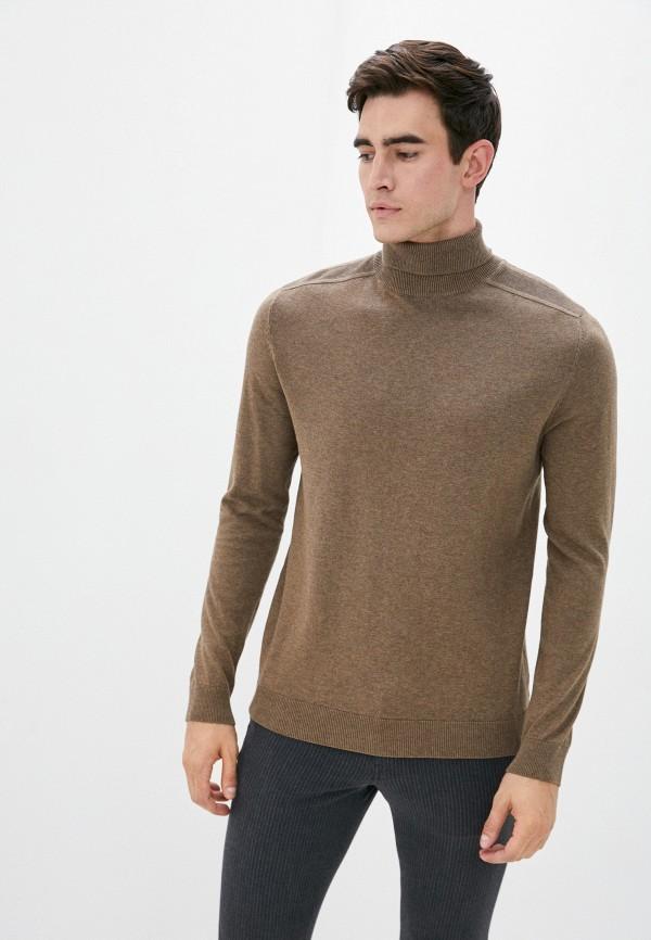 мужская водолазка selected homme, коричневая