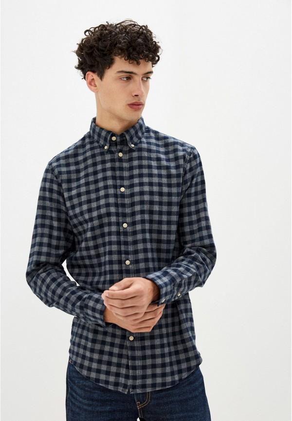 мужская рубашка с длинным рукавом selected homme, синяя