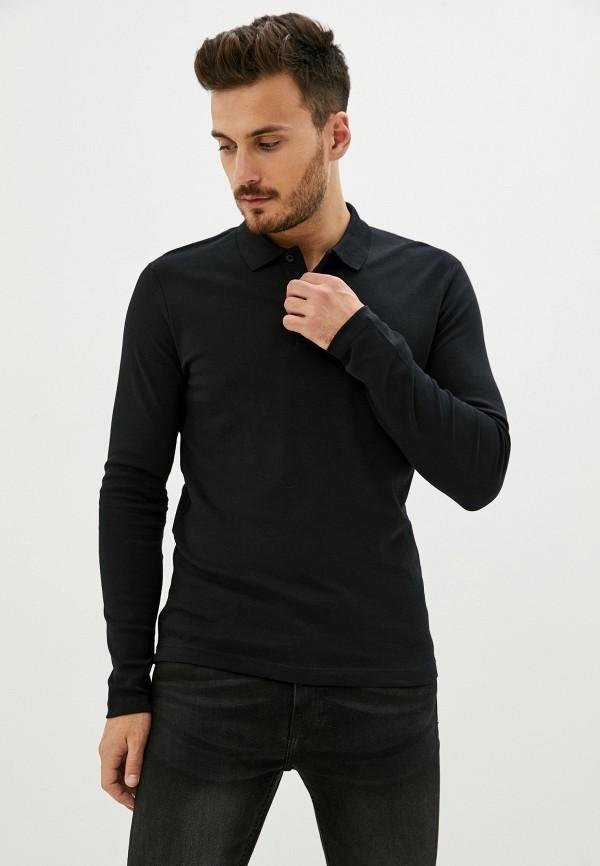 мужское поло selected homme, черное