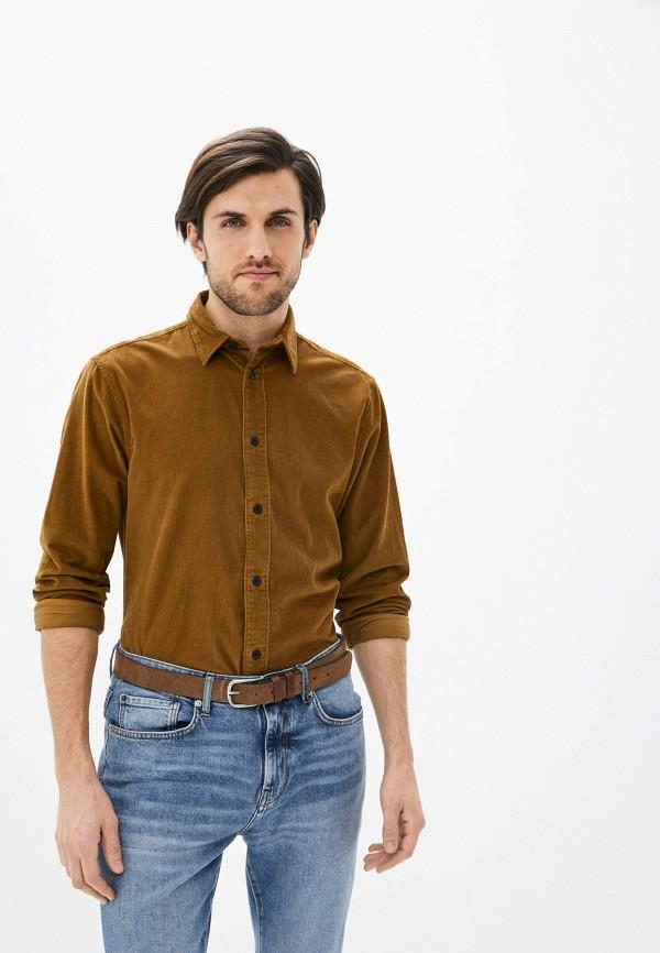 мужская рубашка с длинным рукавом selected homme, коричневая