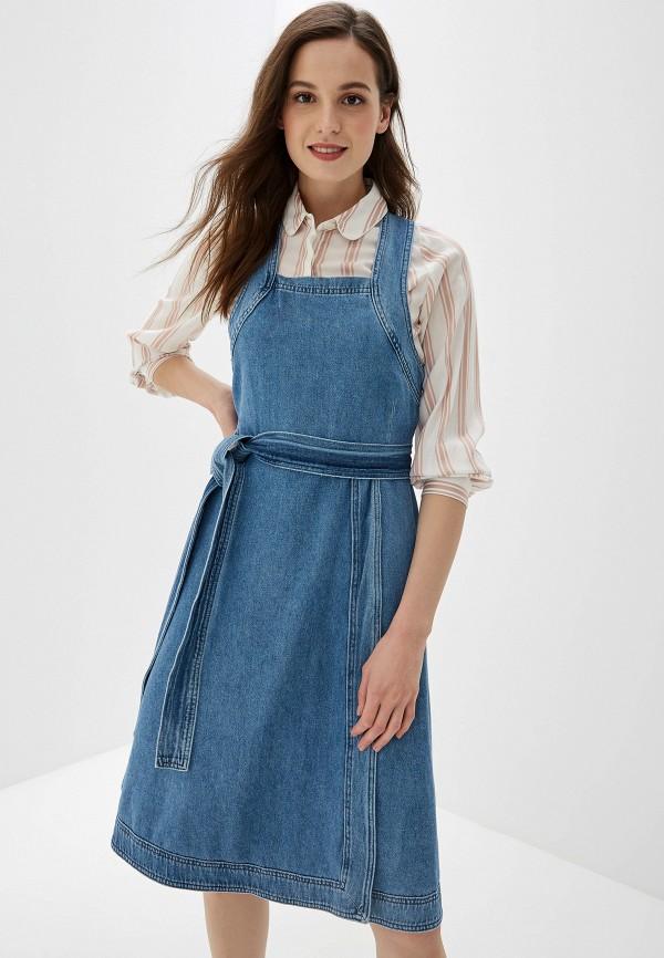 женский джинсовые сарафан selected femme, синий