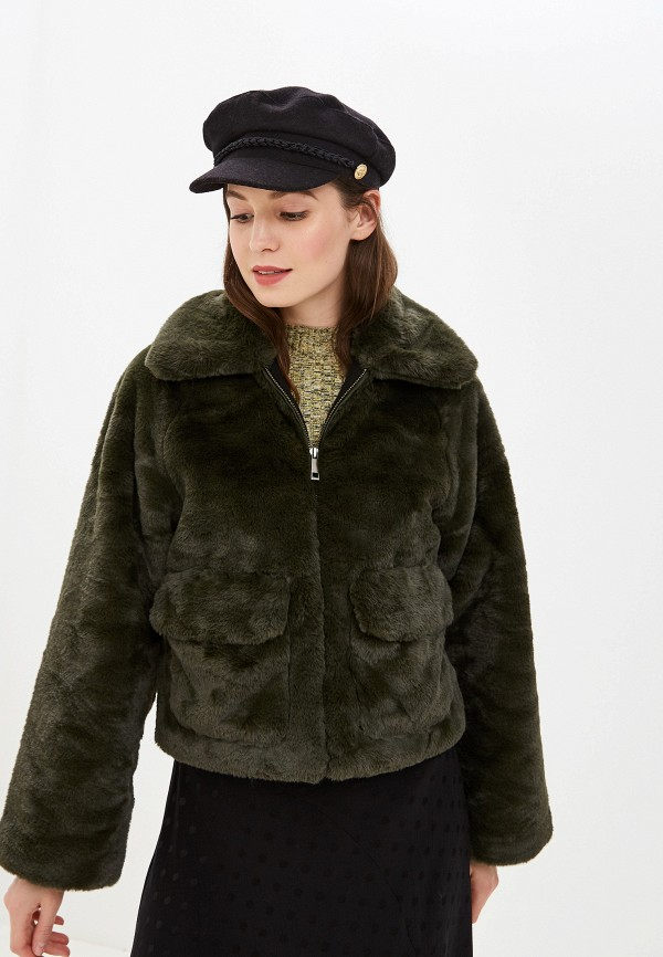 женская шуба selected femme, зеленая