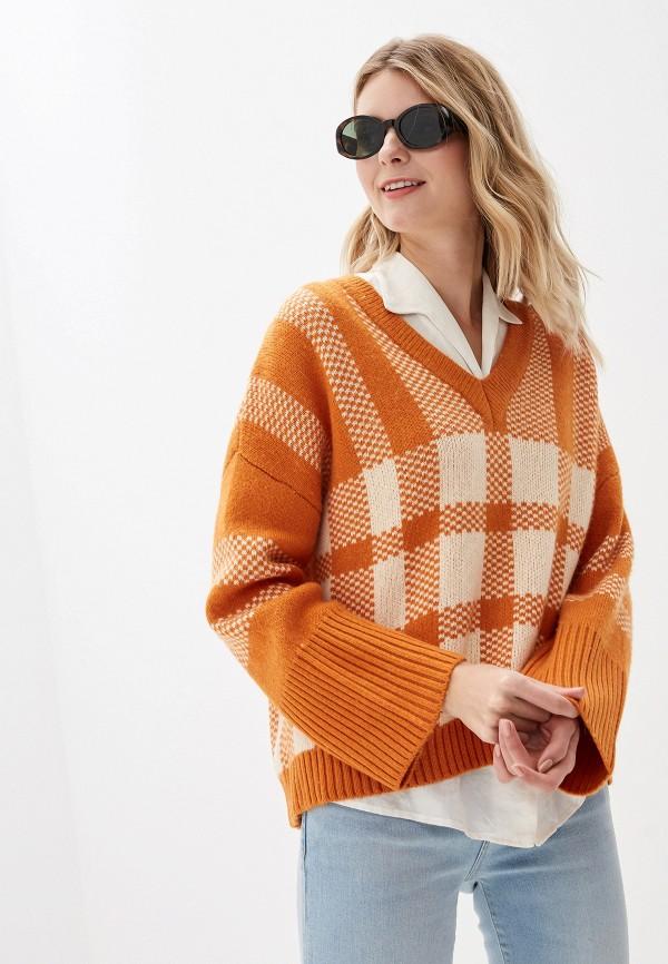 женский пуловер selected femme, оранжевый