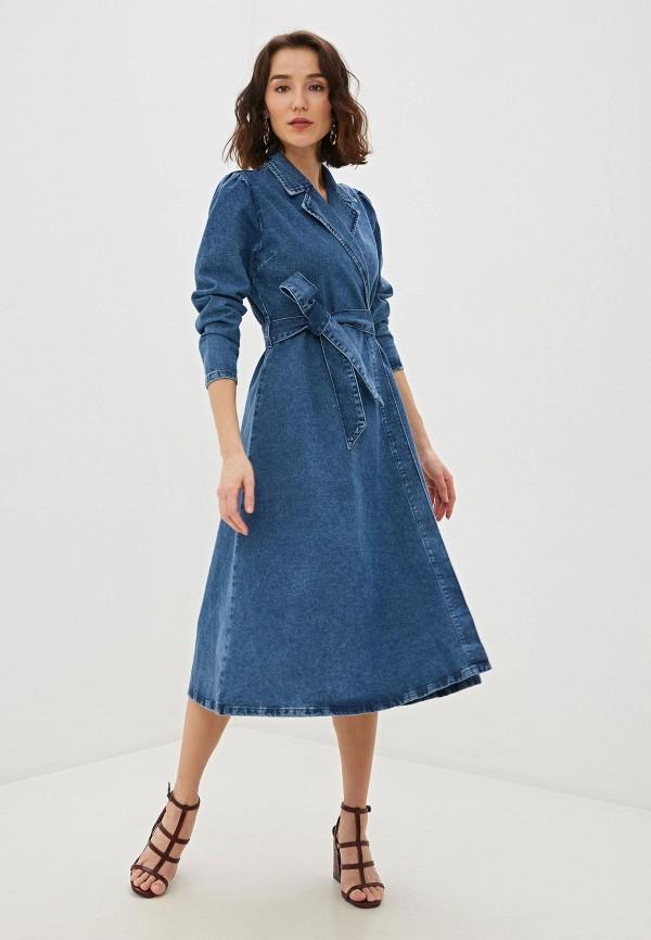 женское джинсовые платье selected femme, синее