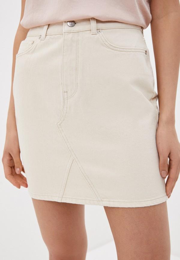женская джинсовые юбка selected femme, белая
