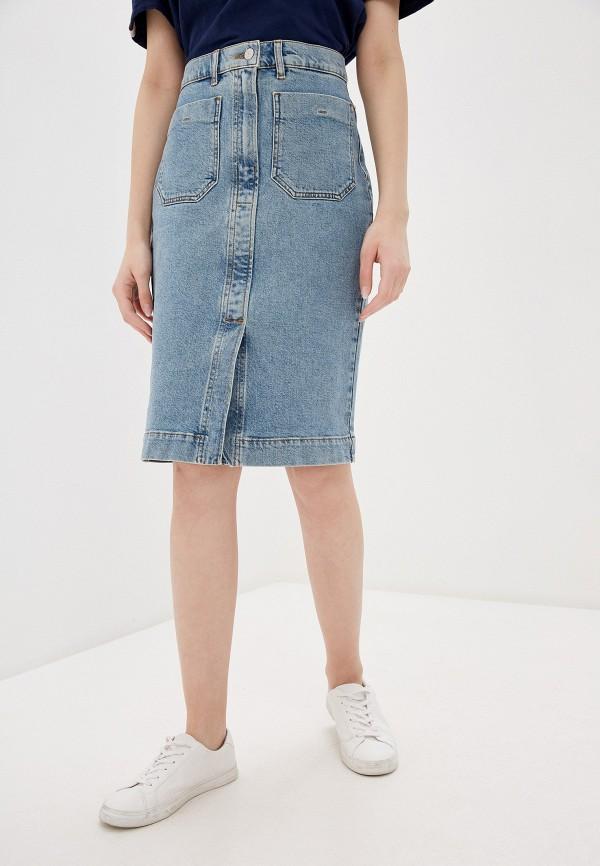 женская джинсовые юбка selected femme, голубая