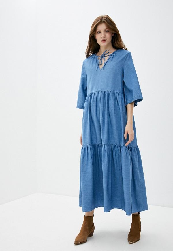 женское джинсовые платье selected femme, голубое