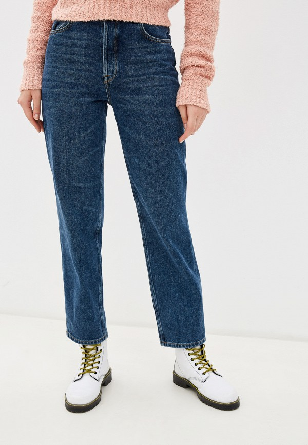 женские прямые джинсы selected femme, синие
