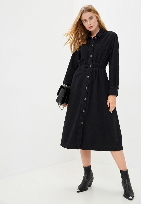 женское джинсовые платье selected femme, черное