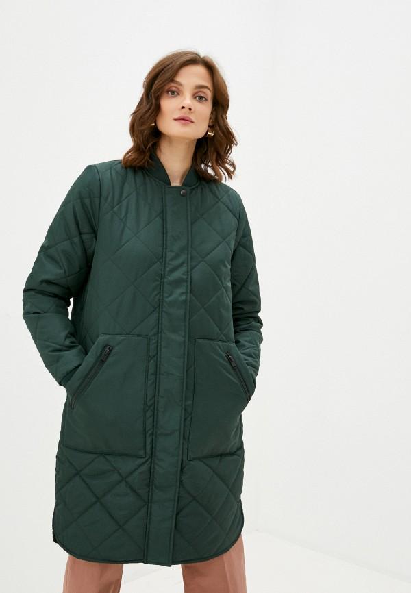 женская куртка selected femme, зеленая
