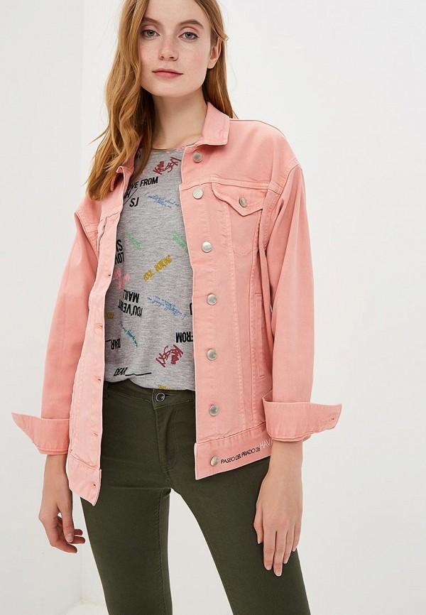женская джинсовые куртка sh, розовая