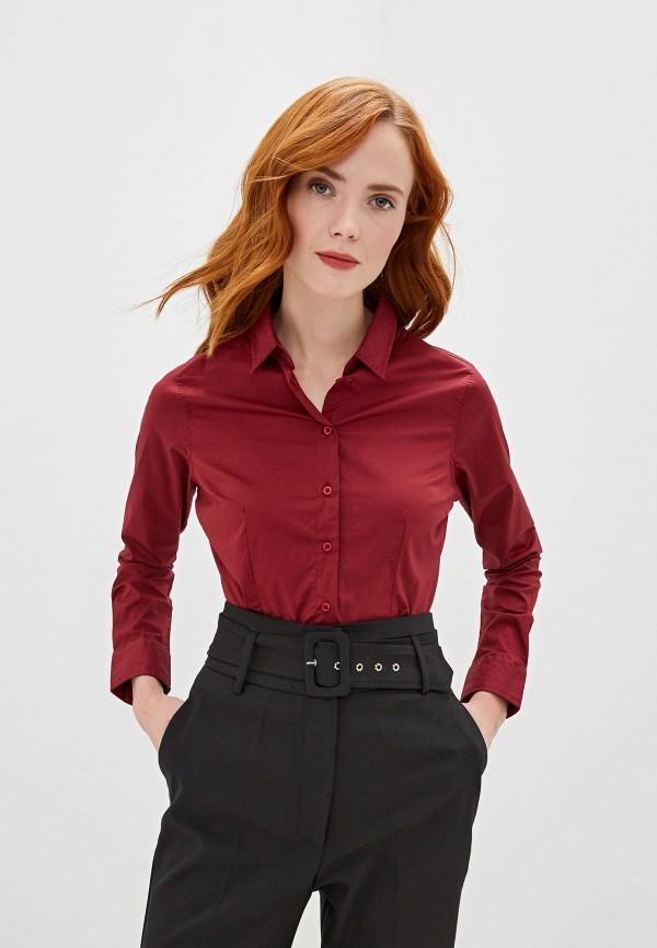 женская рубашка с длинным рукавом sh, бордовая
