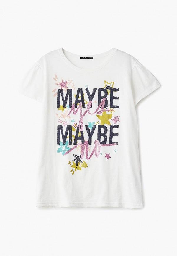 футболка с коротким рукавом sisley для девочки, белая