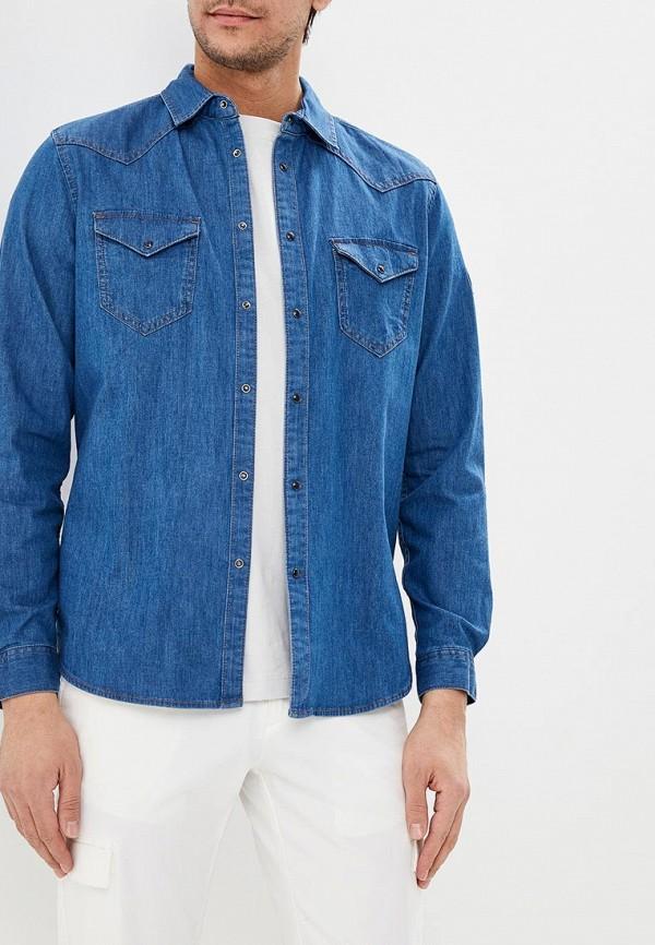 мужская джинсовые рубашка sisley, синяя