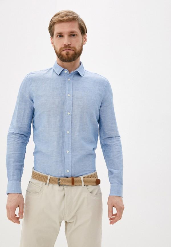 мужская рубашка с длинным рукавом sisley, голубая