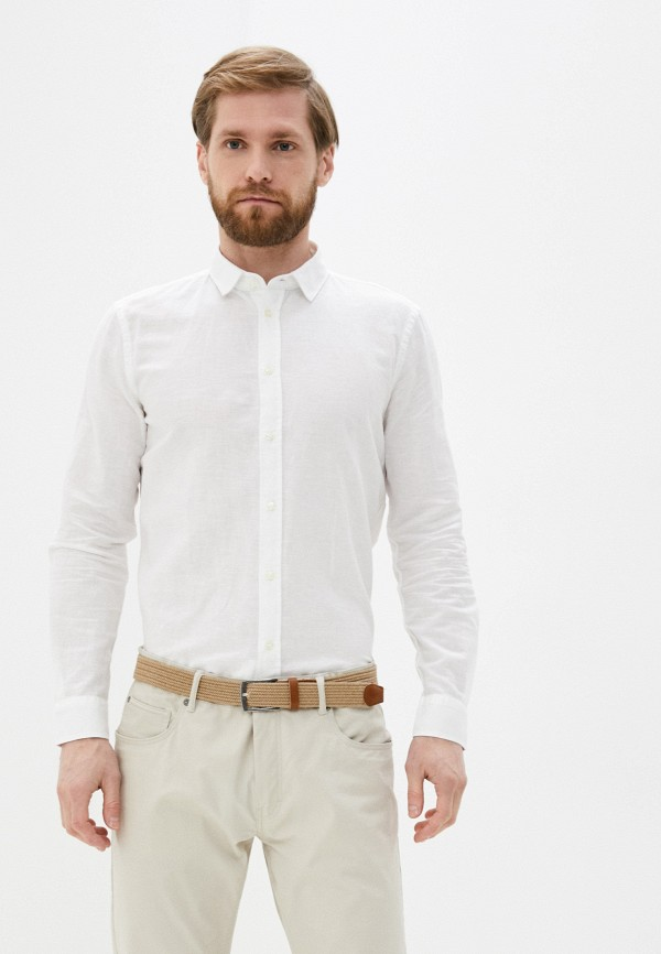 мужская рубашка с длинным рукавом sisley, белая