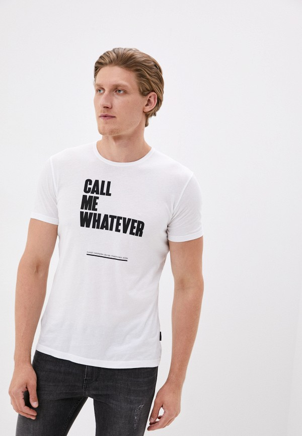 мужская футболка с коротким рукавом sisley, белая