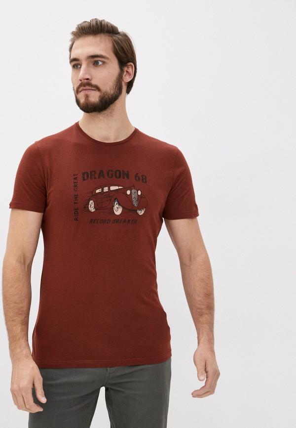 мужская футболка с коротким рукавом sisley, коричневая